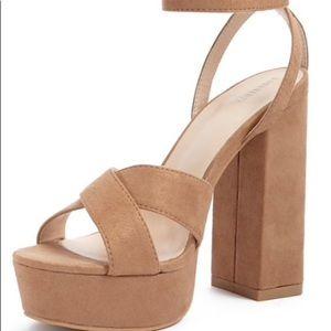 Faux suede crisscross block heels